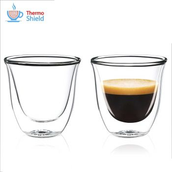 CFL-655B Thermoshield Double Wall Espresso Glasses / Coffee Glasses (Twin Pack) by FilterLogic