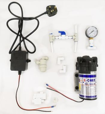 Finerfilters / E-Chen 50GPD Booster Pump Upgrade Kit ¦ Includes Diaphragm Booster Pump, Pressure Gauge and Pressure Switch