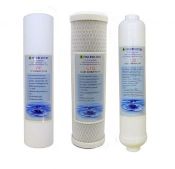 "4 Stage Domestic Reverse Osmosis 10"" Drop In Replacement Filter Pack (PP, CTO, T33) by Finerfilters"
