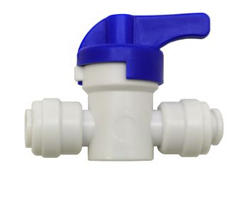 "Finerfilters In Line Push Fit Shut Off Valve Tap / Isolation Valve ¦ 1/4"" x 1/4"" ¦ For Water Filter Systems & Reverse Osmosis LLDPE Tubing"