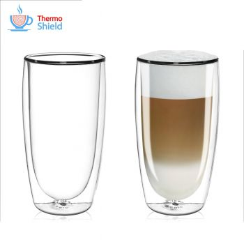 CFL-670B Thermoshield Double Wall Latte Glasses / Coffee Glasses (Twin Pack) by FilterLogic