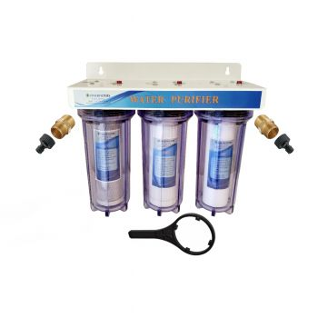 "3 Stage 10"" HMA Heavy Metal Reduction, Pond Dechlorinator Water Filter System with Hozelock Type Adapter"