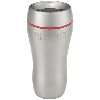 BruGo™ Leak Proof Insulated Travel Mug - Steel - Inspire Red