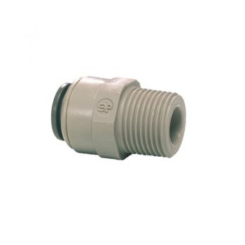"Male BSPT to Pushfit Straight Adaptor ¦ 1/4"" BSPT x 1/4"" Pushfit ¦ John Guest - PI010802S"