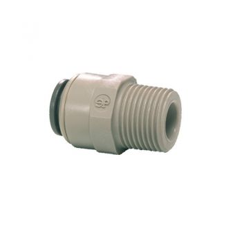 "Male NPTF to Pushfit Straight Adaptor ¦ 1/4"" NPTF x 1/4"" Pushfit ¦ John Guest - PI010822S"