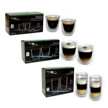 ThermoShield Double Walled Mixed Coffee Glass Gift Set - Cappuccino, Espresso & Latte Glasses by FilterLogic