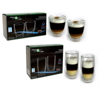 ThermoShield Double Walled Mixed Coffee Glass Gift Set - Cappuccino and Latte Glasses