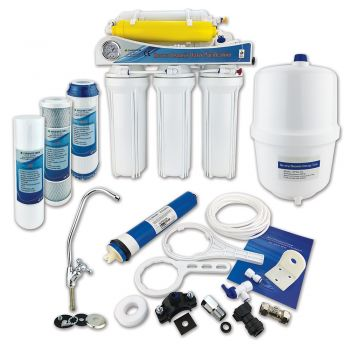 6 Stage Domestic Reverse Osmosis System ¦ Under Sink RO System with Fluoride Removal by Finerfilters (Up to 50 GPD Output)