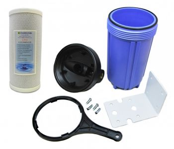 "Finerfilters Jumbo ""Big Blue"" Water Filter Housing with 3/4"" BSP Ports and Carbon Block Water Filter¦ 10"" x 4.5"" - 5 Micron"