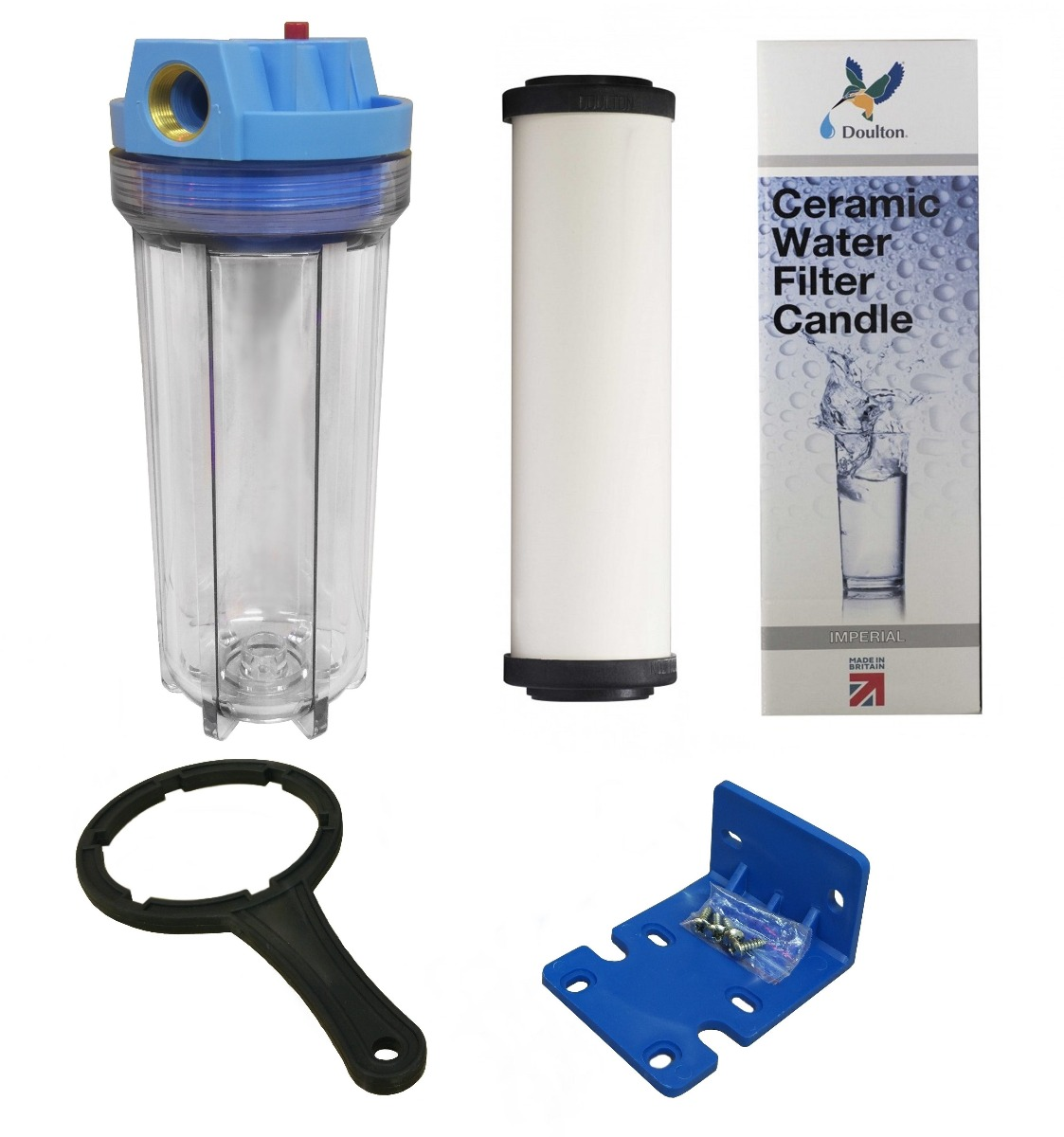 """10"""" Standard Clear Water Filter Housing with 3/4"""" Ports, PRV & Doulton Ultracarb Imperial OBE W9223006 Ceramic Water Filter"""